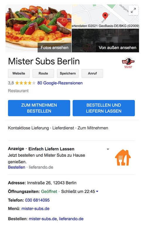 Google Präsenz-Paket order smart