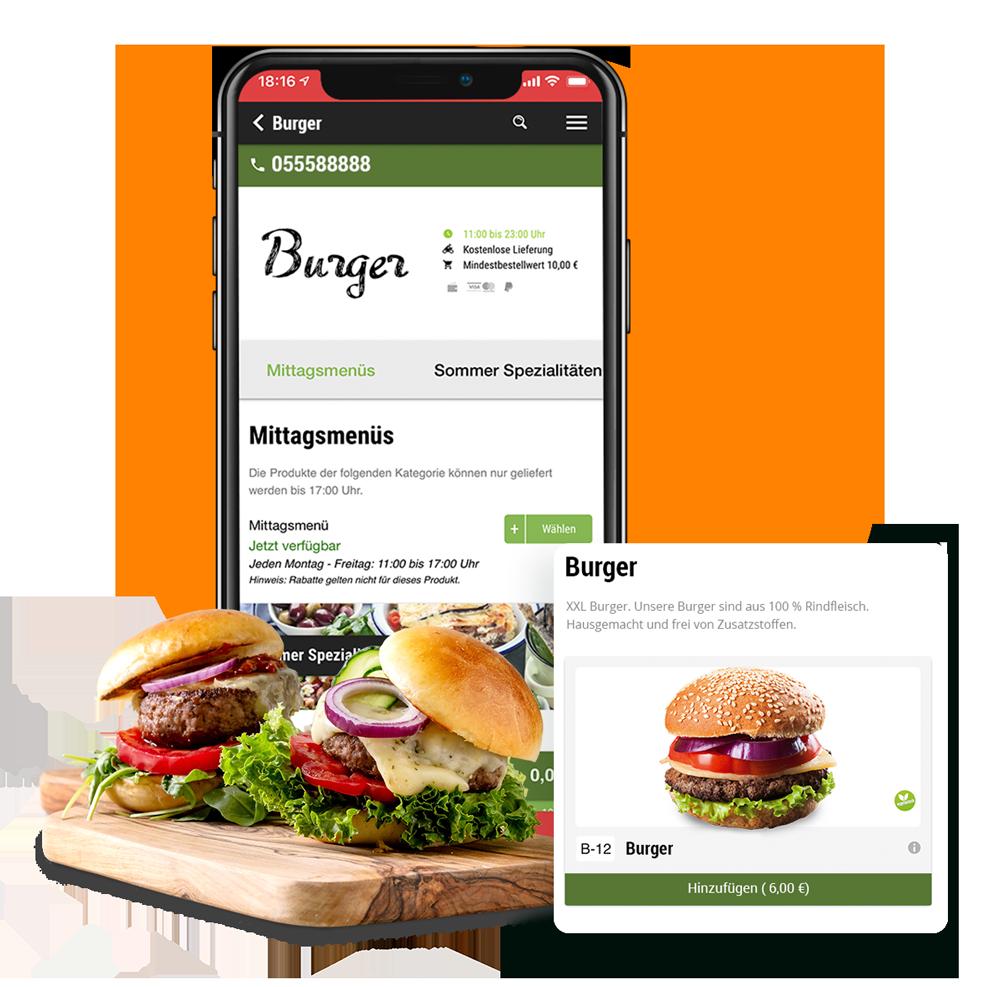 App-Shop für Burger Lieferdienste order smart